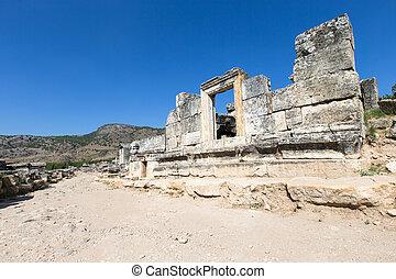 hierapolis, 古代台なし, turkey., pamukkale