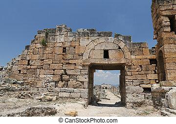 hierapolis, frontinus, antiguo, ciudad, pavo, calle
