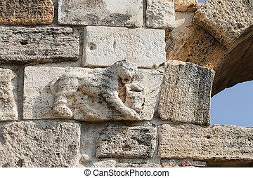 hierapolis, pavo, antiguo, ciudad, encima, león, estatua, ...