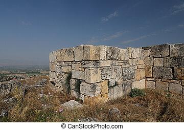 hierapolis, pavo, antiguo, ciudad, pared