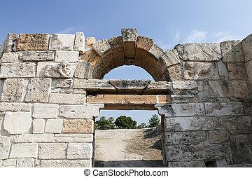 hierapolis, pavo, antiguo, ciudad, puerta
