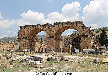 hierapolis, pavo, basílica, antiguo, ciudad, ruinas