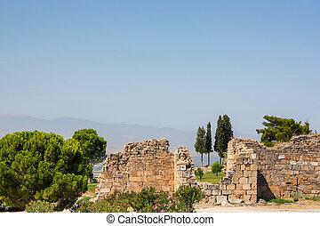 hierapolis, stadt, uralte ruinen, türkei