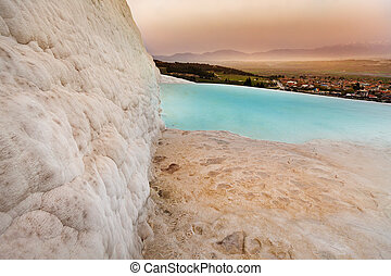 hierapolis, türkei, hügel, travertine, pamukkale