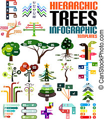 Hierarchic tree infographic templates set
