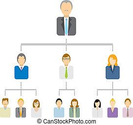 hierarchikus, fa, ábra, /, ügy, szerkezet