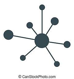 hierarki, ikon, netværk, tegn