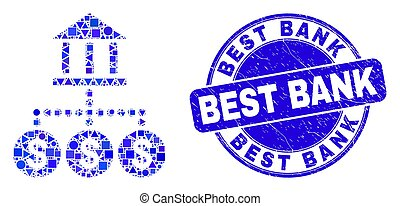hierarquia, melhor, selo, azul, banco, arranhado, mosaico