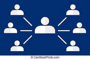 hierarquia, organisational, incorporado, mapa