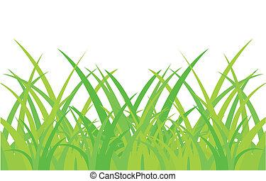 hierba, blanco, fondo verde