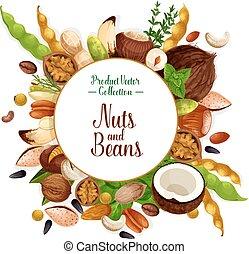 hierba, nuez, frijol, semilla, cartel