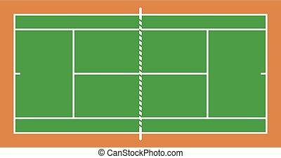 hierba, tenis, diseño, tribunal