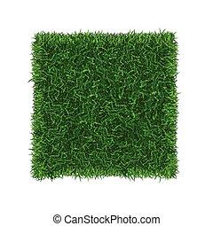 hierba verde, campo, bandera, fútbol, place., vector