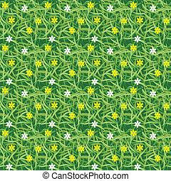 hierba verde, campo, con, pequeño, flor