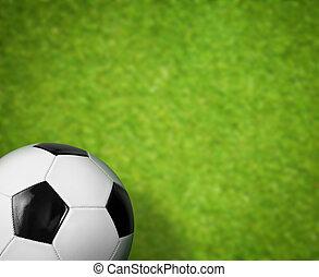 hierba verde, campo del fútbol, y, pelota, plano de fondo