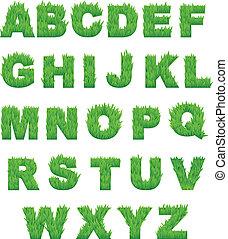 hierba verde, cartas, de, alfabeto