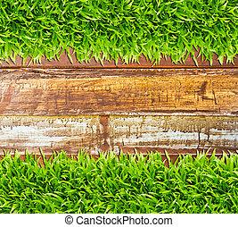 hierba verde, en, madera, plano de fondo