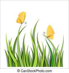 hierba verde, frontera, con, mariposas