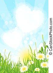 hierba verde, nubes