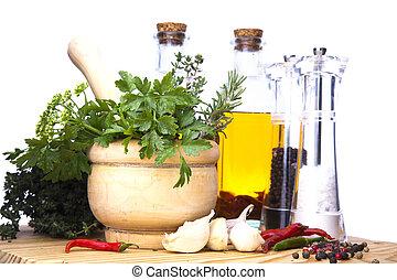 hierbas, aceite, mortero, especias, virgen, peper., mano de mortero, aceituna, fresco, sal