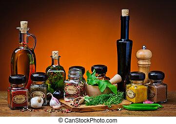 hierbas, especias, y, aceite de oliva