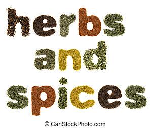 hierbas y especias, palabras