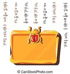hieroglyfer, bord, egyptisk, kompress, lera, sten