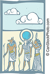 Hieroglyph Clouds - Anubis and Horus with clouds Egyptian...