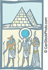 Hieroglyph Pyramids - Anubis and Horus with Pyramids...