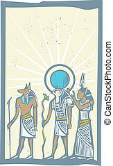 Hieroglyph Sun Rays - Anubis and Horus with Rays of Light...