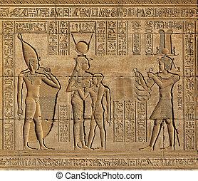 hieroglyphic, エジプト人, 寺院, 彫刻, 古代