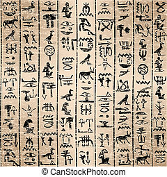 hieroglyphics, grunge, baggrund, ægyptisk