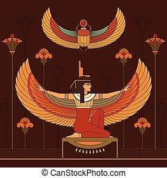 hieroglyphs., エジプト人, isis, セット, エジプト, 女神
