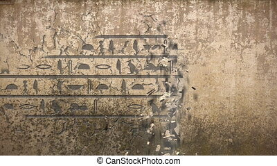 Hieroglyphs falls out of an old wall - An animation of...