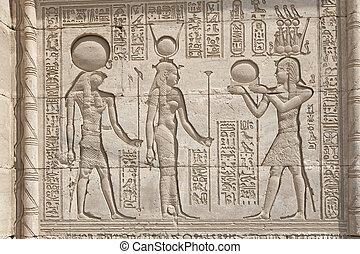 hieroglypic, 彫刻, 寺院, エジプト人