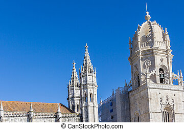 The Hieronymus monastery, a popular place for tourits in Belem in Lisbon, Portugal