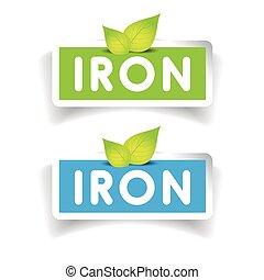 hierro, etiqueta, vector, conjunto