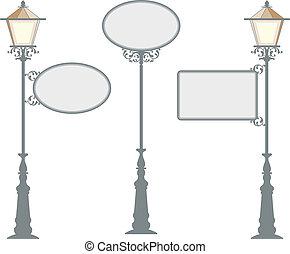 hierro forjado, signage, con, lámpara, linterna