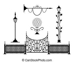 hierro forjado, vendimia, señales, y, decoración, elementos