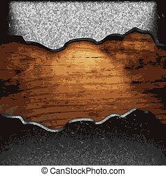 hierro, placa, en, madera