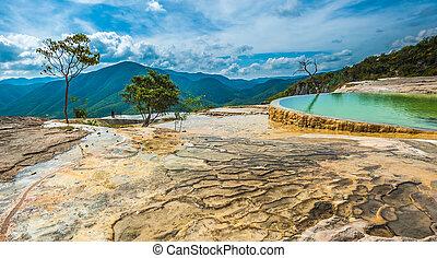 hierve, el, agua, natural, formações rocha, em, a, mexicano,...