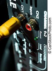 hifi, audio, dos, câble