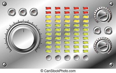 hifi, equalizer, ontwerp, set, geleide