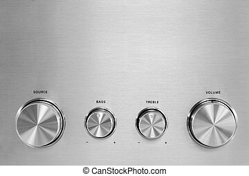 Hifi Knobs - Four isolated gray hifi knobs from a stereo...