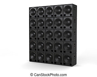 Hifi subwoofer speakers stacked