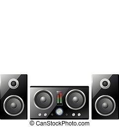 hifi, vector, muziek, centrum