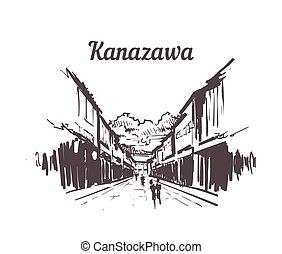 higashichaya, 手, kanazawa, 引かれる, sketch., 古い 町, スカイライン