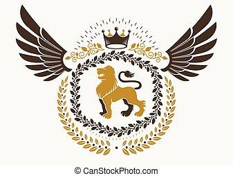 higgadt, embléma, alkotott, szárnyas, szüret, címertani, ábra, császári, oroszlán, vektor, tervezés, vad, használ, crown.