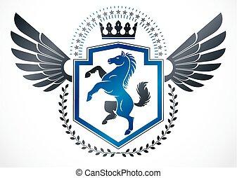 higgadt, ló, embléma, alkotott, szárnyas, szüret, címertani, ábra, császári, vektor, tervezés, használ, crown.