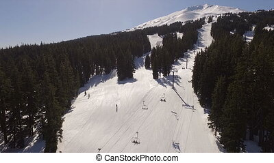 High Above Aerial View Mt Bachelor Ski Slope Lift Oregon -...